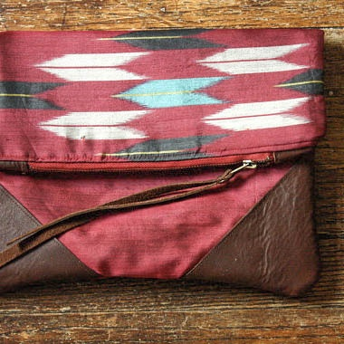 Claret Arrows Stella Clutch.  Vintage Silk Kimono & Leather.