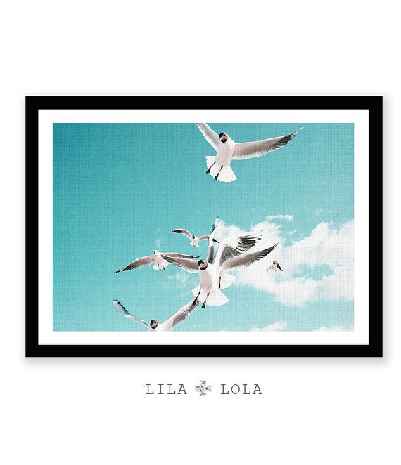 Seagull Print Birds Beach Decor Coastal Wall Art by LILAxLOLA