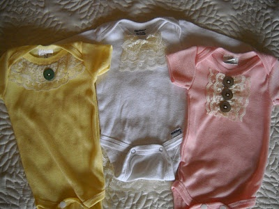 baby girl onesies with lace! DIY