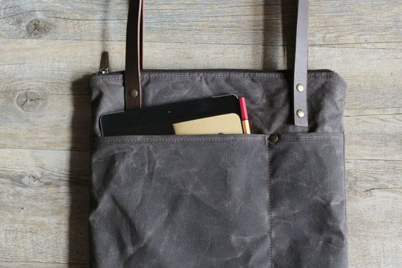 Handmade waxed canvas tote bag with first quality italian leather handles This tote is perfect to carry your laptop and has a pocket on the