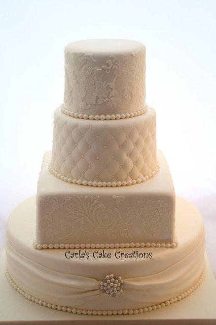 Not sure I like the square cake in this, maybe replace it with another round tier.  Elegant Wedding Cake  Cake by CarlasCakeCreations