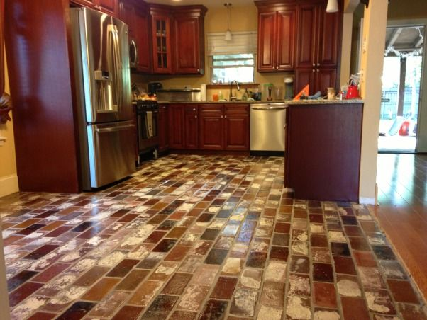 kitchen with brick floor - photo #37