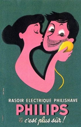 Poster by Jean Colin, 1961, Philips Electric Razor, French Advertisement. #Kiss #Shaver #Bathroom