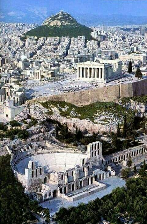 Athens Acropolis and Lycabetus hill.