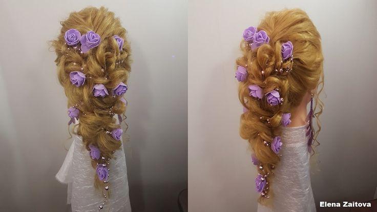 прическа вечерняя свадебная на длинные волосы локоны и косичка быстрые п...