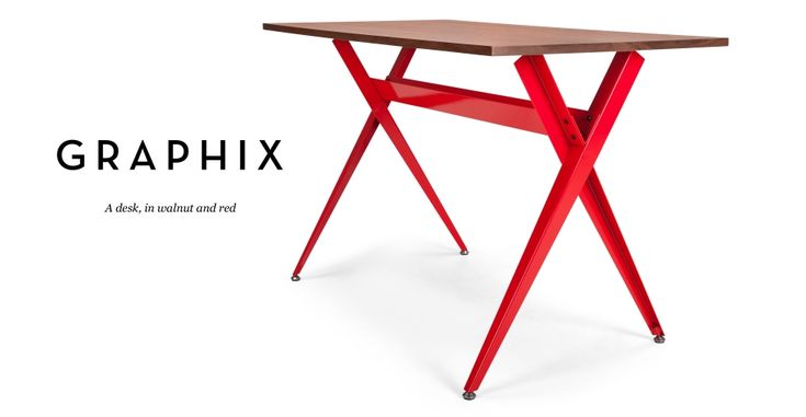 Graphix Desk in walnut and red | made.com