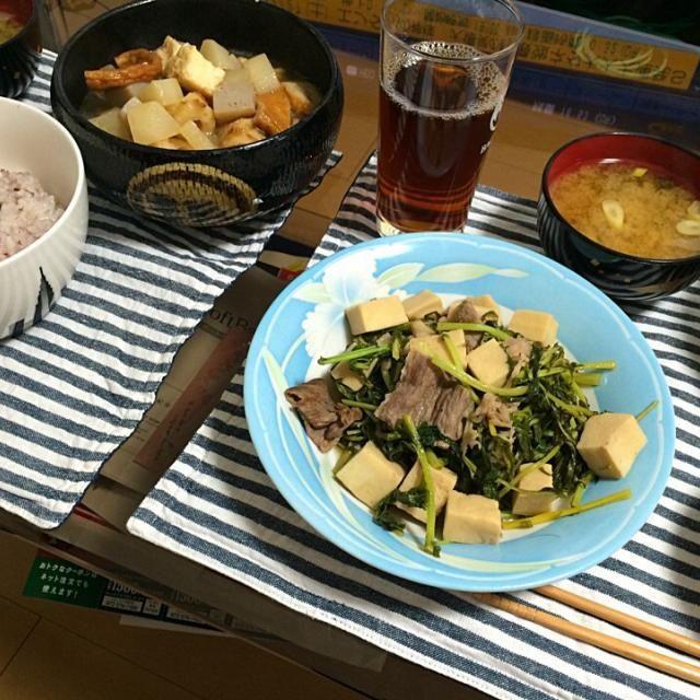 今日は和食♡ - 6件のもぐもぐ - おでんと大根葉っぱと牛肉と高野豆腐の甘辛炒めと水菜ナムル♡ by miho2918