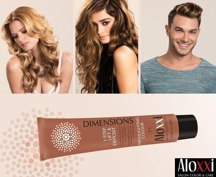 Quando la moda più attuale chiama, AloXXi ha sempre il prodotto giusto da proporre ai professionisti del colore! Come gli AloXXi Dimensions, la nuova DiMeNsIoNe del colore: perché i Dimensions schiariscono e colorano in un solo passaggio tutti i tipi di capelli, naturali o colorati. Nessun'altro può fare lo stesso!