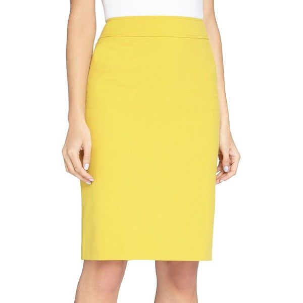 Tahari Arthur S. Levine Solid Pencil Skirt (€62) ❤ liked on Polyvore featuring skirts, mustard yellow, mustard pencil skirt, tahari by arthur s. levine, knee length pencil skirt, yellow skirt and mustard yellow pencil skirt