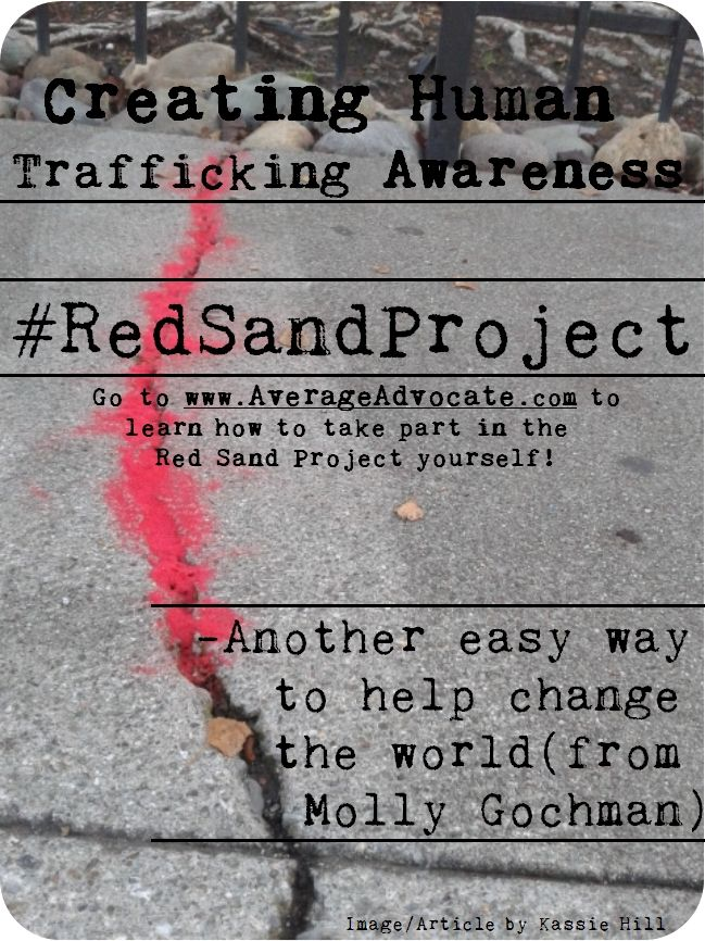 Easy Action to do with kids: Red Sand Project to Create Awareness for Human Trafficking #RedSandProject #HumanTrafficking #AverageAdvocate #KassieHill www.AverageAdvocate.com