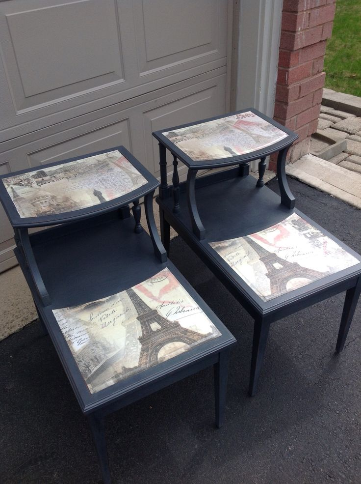Two tier end tables with Paris inserts