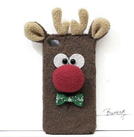 3D Animal Christmas Reindeer Phone Case for Iphone by trendcases, $21.00