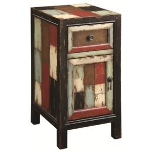 enliven your home with a hint of rustic style by placing this antiqued endtable