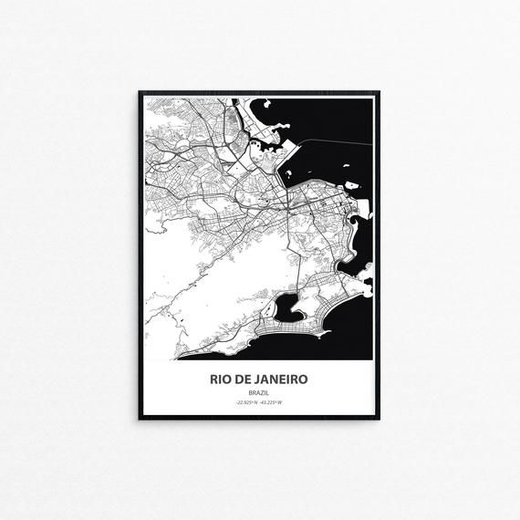Rio Minimalist City Map Poster Print Black And White City Map