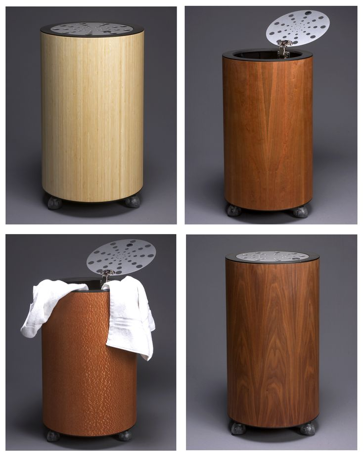 Launch- clothing hampers, cylindrical enclosure with exotic wood veneer, brushed aluminum perforated lid, removable catch bag, rides on ball casters for ease of mobility.Standard veneers .Walnut .Cherry. Mahogany * Custom veneers are available.#design#interior#interiordesign#bathroom#laundry#exotic#wood#modern#furniture#furnishings