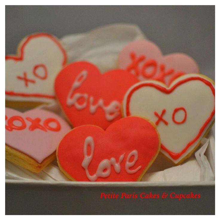 Valentine's Day cookies, xoxo cookies, xo cookies, love cookies