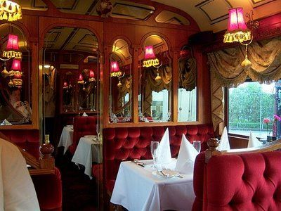 Colonial Tramcar Restaurant, Melbourne, Australia.  these vintage trolleys are turned into luxury dining cars and you are served as you ride around Melbourne at night.  Wonderful experience!