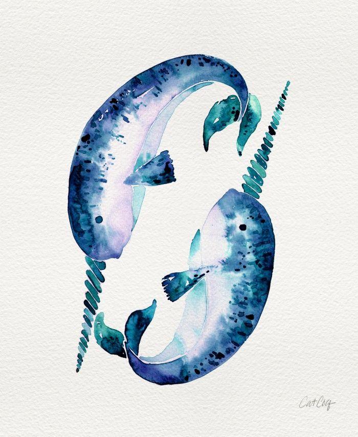 Blue Narwhals Art Print