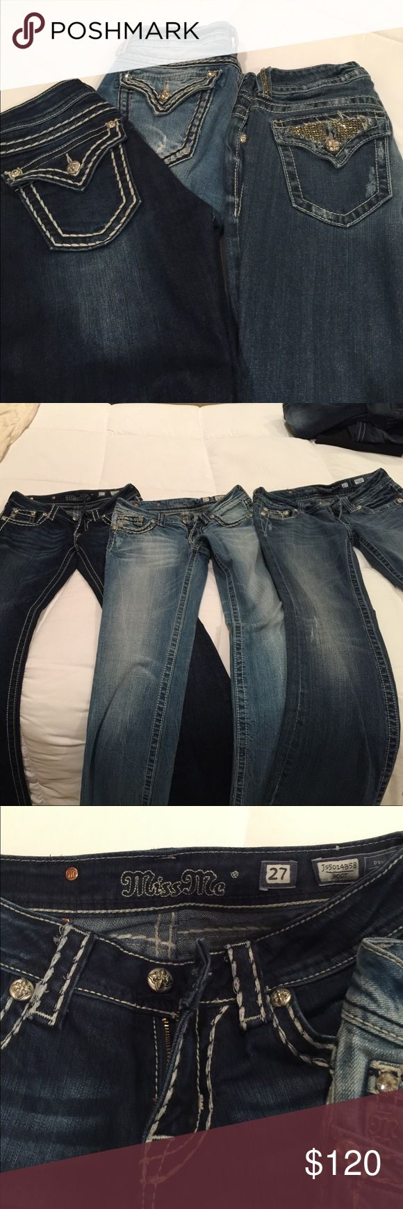 3 pair of Miss Me bootleg jeans Miss Me bootleg jeans excellent condition, size 27 Miss Me Jeans Boot Cut