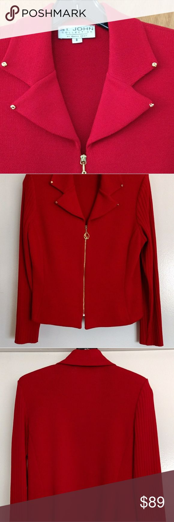 """ST JOHN sz 8 Women's Red Career Sweate Coat Jacket Incredibly beautiful red ST JOHN COLLECTION sweater jacket. Gold jewel accents zip up.? Four point collar with gold unstretched? Shoulder to hem 22"""" unstretched? All measurements are approximate? Smoke free pet free home.? St. John Sweaters Cardigans"""