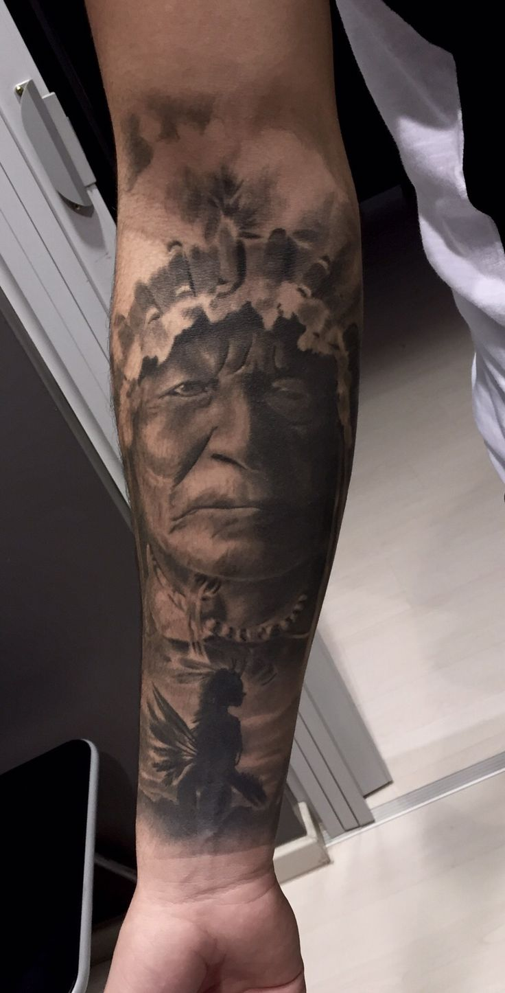 Realistic Native Indians of America Tattoo Black and gray Artist:Alessandro Joy Raggi Ink Addicted Savona Italy