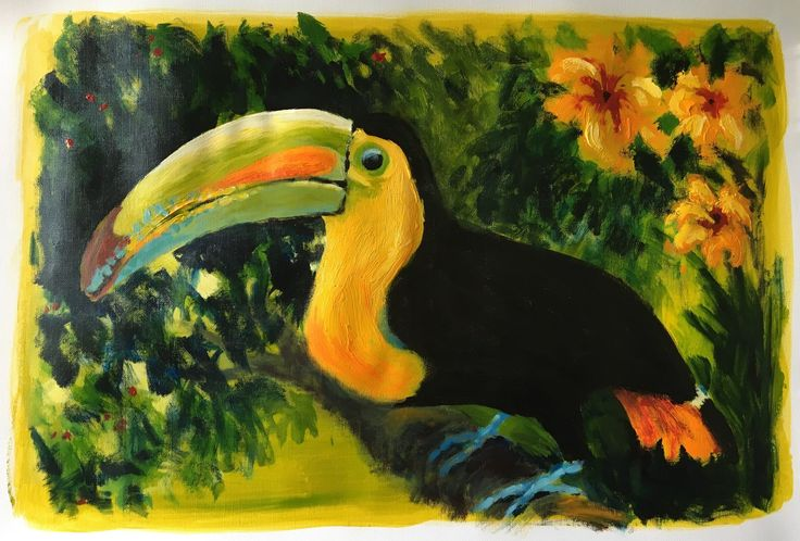 Let's Samba - (the cheeky toucan says) by Rubi Cassidy Acrylic on A2 Canvas Paper Original artwork