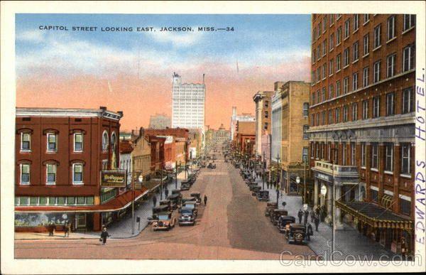 Capitol Street Looking East Jackson, MS Postcard