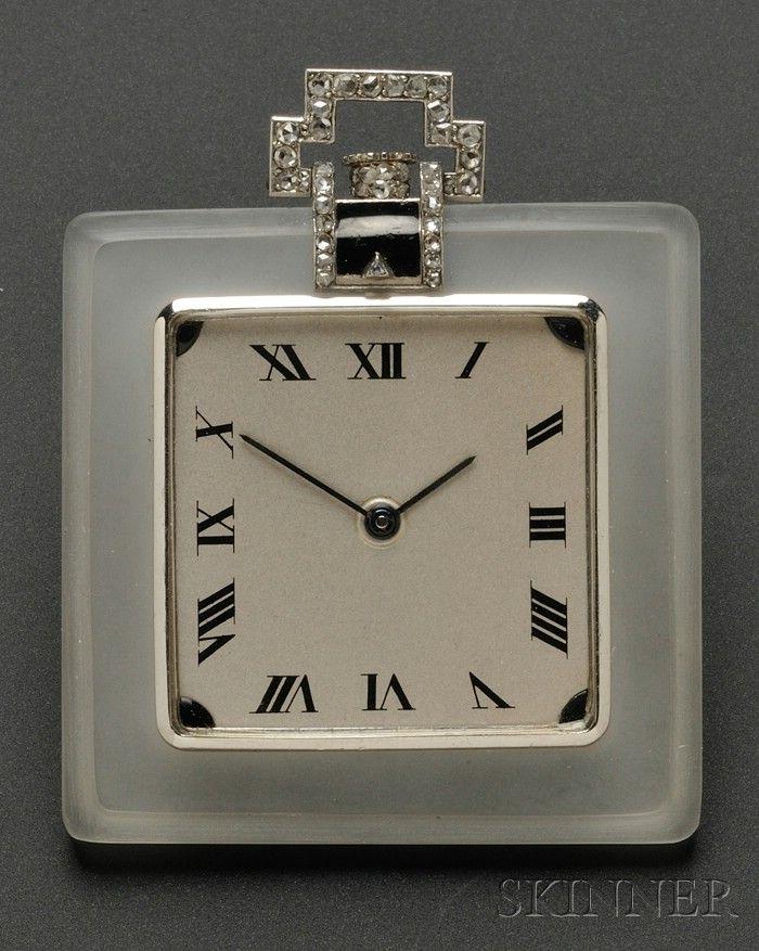 Art Deco Rock Crystal, Diamond, and Enamel Pendant Watch