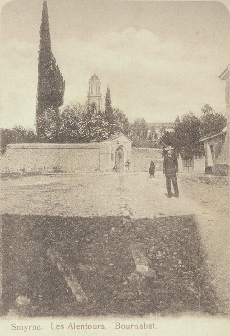 A view of the village with what looks like the Anglican cemetery walls and the tower of the Greek Orthodox Church?