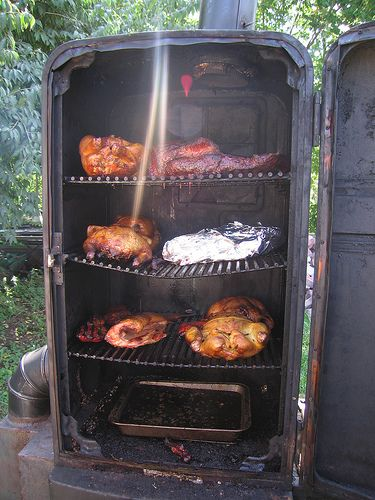 Homemade meat smoker. Yum.