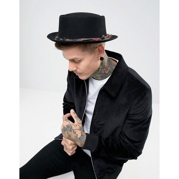 ASOS Pork Pie Hat With Distressed Tartan Band (376.445 IDR) ❤ liked on Polyvore featuring men's fashion, men's accessories, men's hats, black, asos mens hats, mens wool hats and men's brimmed hats