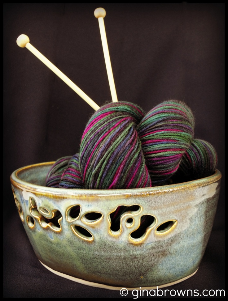 *Sorry knitters. This bowl has sold.* This intricate yarn bowl has the most amazing glaze on it!