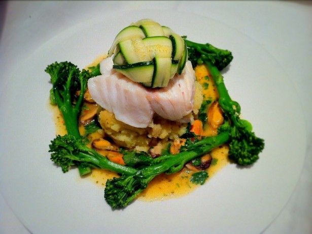 Cod courgette lattice and citrus mussels fine dining for Fine dining at home recipes