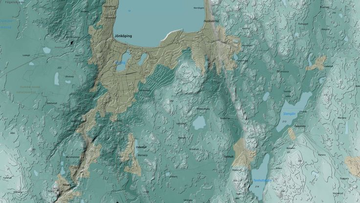 Created Tanaka style elevation lines over my entire home province (took some time). This is a view of the province capital of Jönköping.