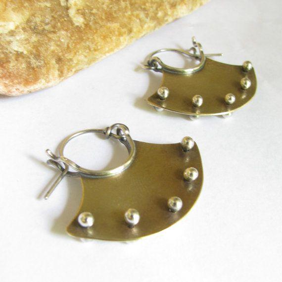 Mixed Metal Jewelry Pinned Hoop Earrings Mixed Metal by Mocahete, $58.00 http://www.pinterestshopping.com