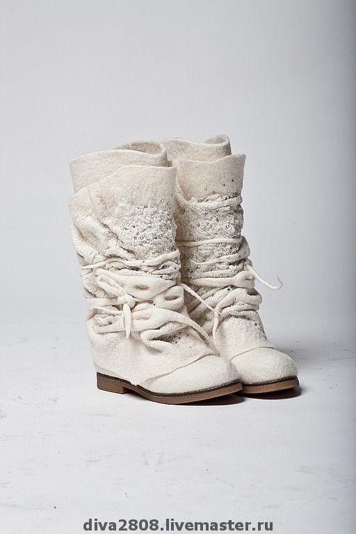 """Купить Сапожки валяные """" Свадебные"""" - авторская работа, валяная обувь, белый, сапоги женские"""