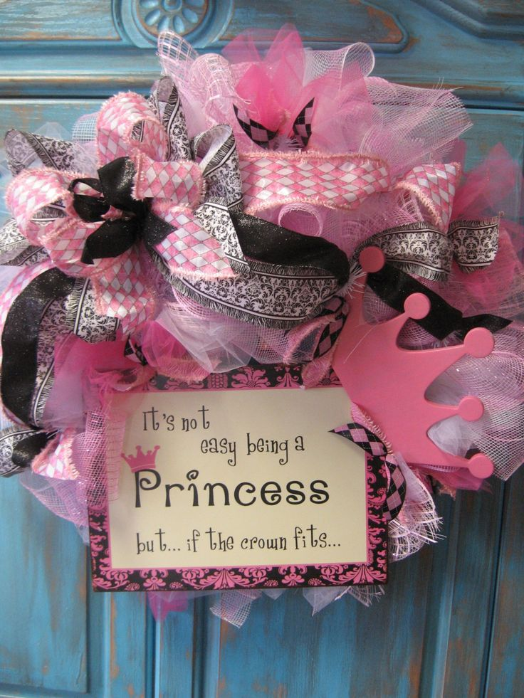 IF the CROWN FITS Princess wreath in Parisian pink, black and white hues w/ sign and crown- Birthday wreath - Baby wreath. $64.99, via Etsy.