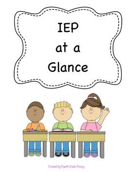 This free resource will enable you to have students' most useful information close by. After reading the IEP simply record the parts of the IEP that you will need the most. Keep the forms in your student information binder to save time throughout the year.