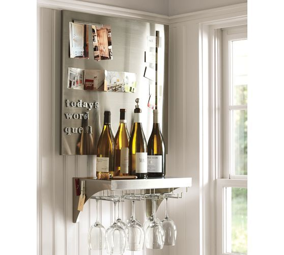 pottery barn wine shelf installation 2