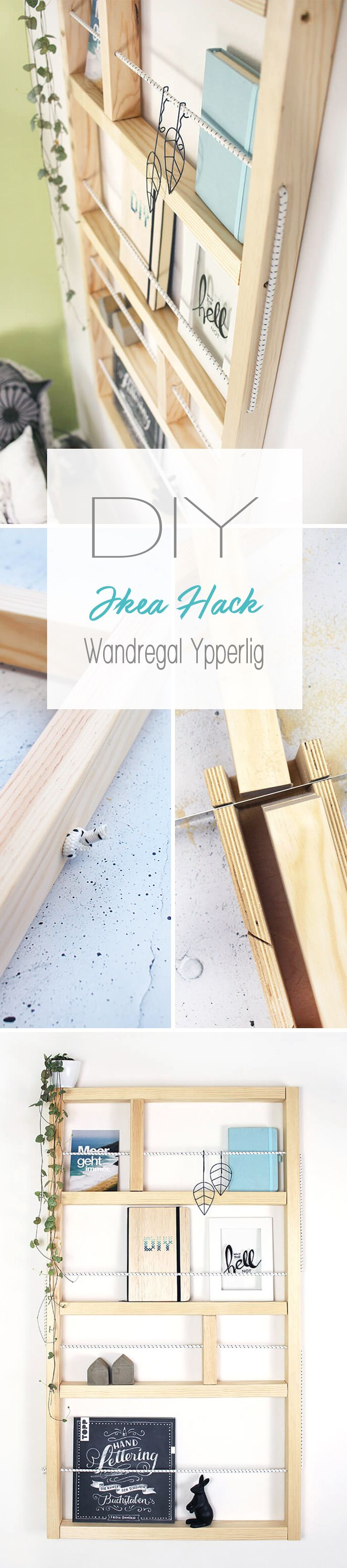 Dani vom DIY Blog Gingered Things zeigt euch mit diesem Ikea Hack wie ihr das Wandregal aus der Ypperlig Kollektion selbst aus Holz und einem Gummiseil nachbauen könnt