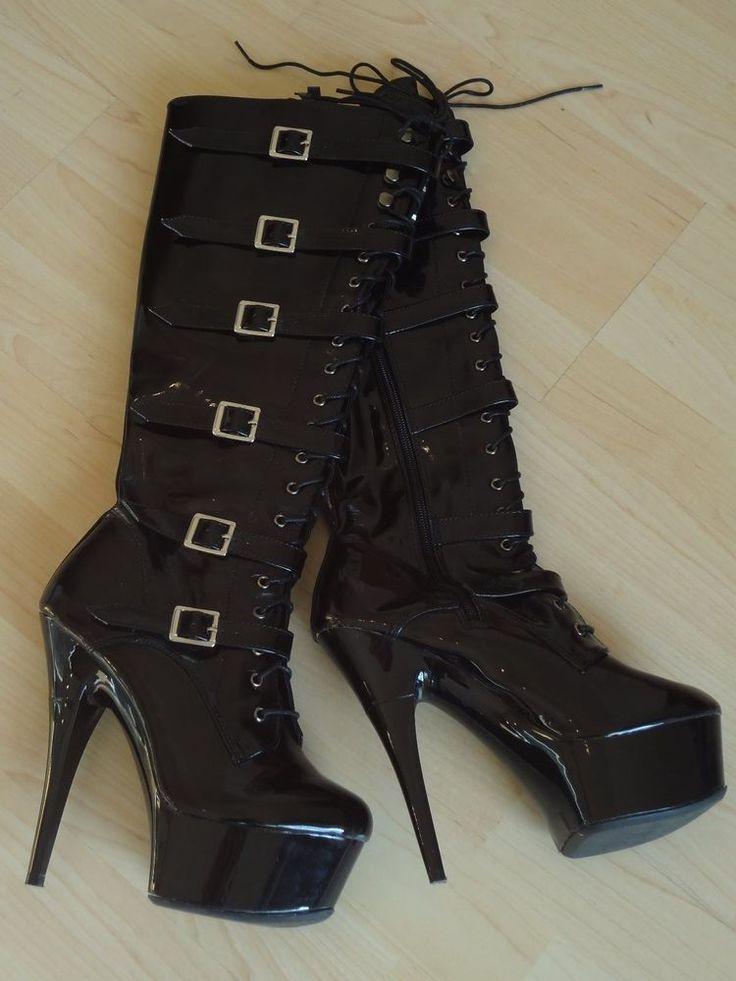 Lack-Stiefel, 39, schwarz, kniehoch, Plateau, 12cm, High Heels, geschnürt in Kleidung & Accessoires, Damenschuhe, Stiefel & Stiefeletten | eBay!