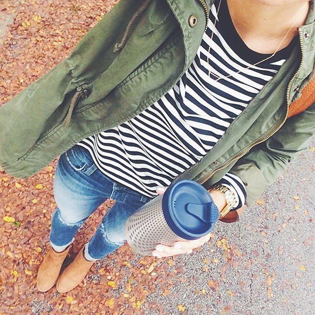 Classic and casual fall look: Cargo, stripes and booties. You can't go wrong!