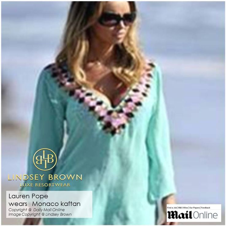 Lauren Pope wears Silk Kaftan top Monaco -three colours of sequins that are carefully chosen to tone with the delicate silk are hand sewn and interlocked together creating a dramatic border effect. The hem, sleeve and neckline are all lined and hand finished making each piece a luxurious designer kaftan.
