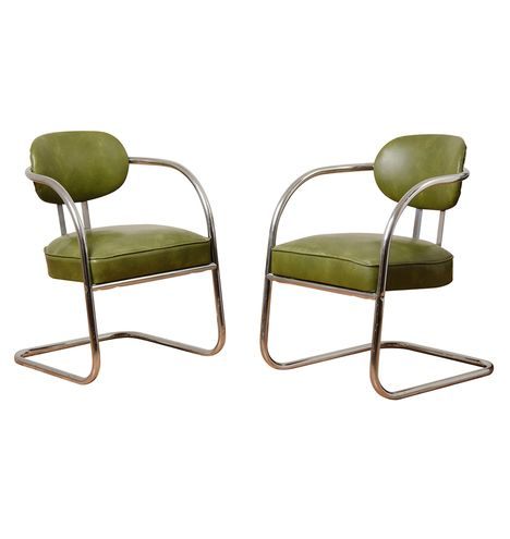 Pair of Mottled Green Vinyl Barber Shop Chairs c1940  F6351