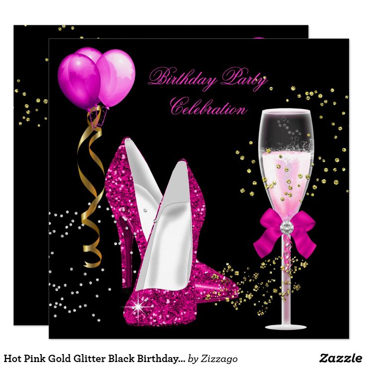 Hot Pink Gold Glitter Black Birthday Party Invitation Glitter Birthday Glitter