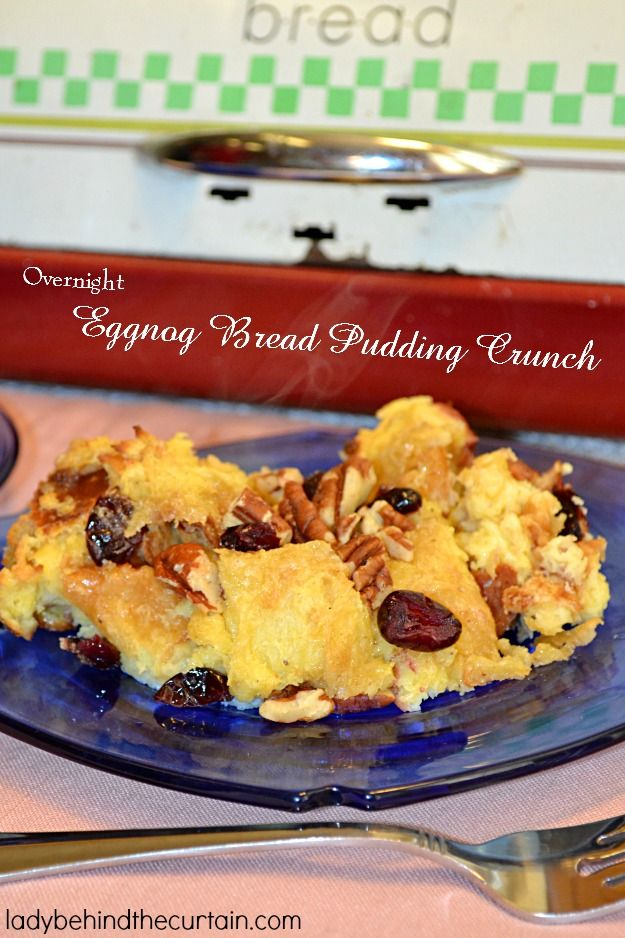 Treat your guests and family to this Overnight Eggnog Bread Pudding Crunch on Christmas morning! This bread pudding is a must for your holiday breakfast b