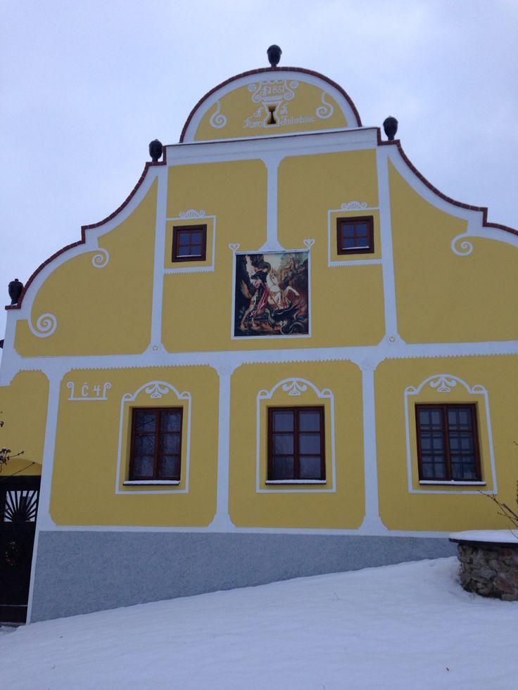 Typical architecture of Southern Bohemia Czech republic Dobčice Photo: Erika Schwarzová