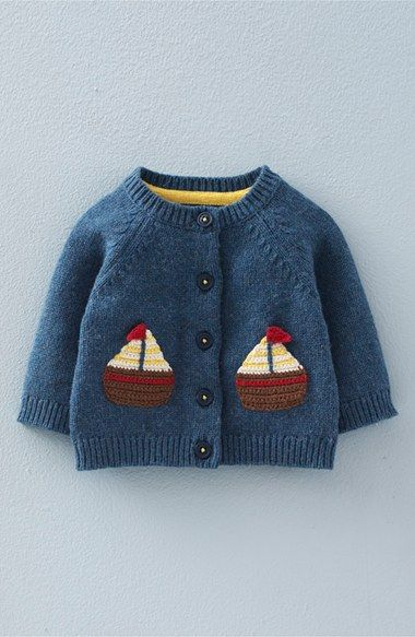 Mini Boden 'Crochet Boats' Knit Cardigan (Baby Boys & Toddler Boys) available at #Nordstrom