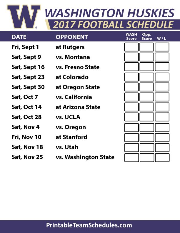 2017 Washington Huskies Football Schedule