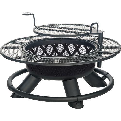 Enjoy cool evenings with the Outdoor Fire Pit Ring Wood Burning Coal Grill Adjustable Height Firewood Pot, which is made of heavy-duty, metal cooking grate that swivels 360° and features an adjustable height. | eBay!